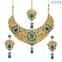 Vendee Fashion Sky Blue Alloy Necklace Set 6765