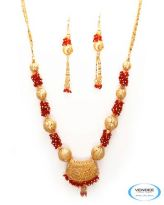 Vendee Fashion Golden & Red Alloy Necklace Set 6798