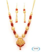 Vendee Fashion Golden & Red Alloy Necklace Set 6800