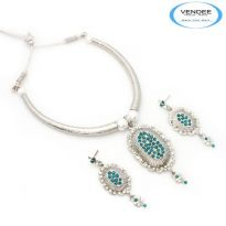 Vendee Fashion Sky Blue Alloy Necklace Set 6851