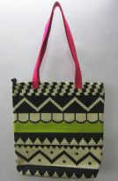 Pick Pocket Canvas Accrue Lime Green And Pink Tote Hand Bag Toblklm16