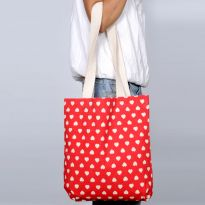 Pick Pocket Canvas Accrue And Red Tote With Hearts Hand Bag Toblurheart7
