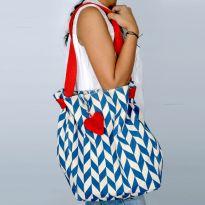 Pick Pocket Canvas Ecru With Blue Prints And Heart Shaped Tassel Hand Bag Joblurhert11