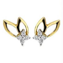 Bling! Real Gold And Diamond Fancy Leaf Earring