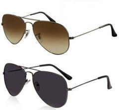 Buy 1 Black Aviator Sunglasses And Get 1 Brown Aviator Sunglasses Free
