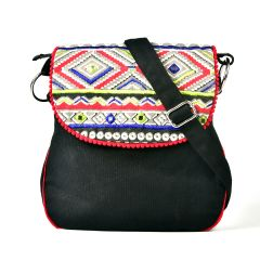 Pick Pocket Triangle Printed With Aabla Embroidery On Flap Sling  With Red