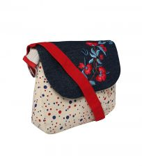 Red And Blue Polka Dot Canvas Sling Bag With Blue Top And Embroidery