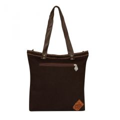 Pick Pocket Tanned Canvas Tote With Embroidery With PU Handle