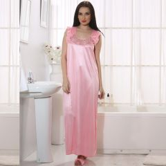 Clovia Long Satin Nighty In Baby Pink   NSM282P62_Free Size