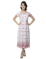 Clovia Cotton Blended Long Nightdress With Cute Floral Prints (Product Code - Ns0528P22 )