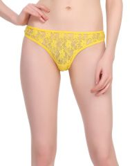 Clovia Sexy Lacy Thong In Yellow  -(Product Code- PN0550P02)