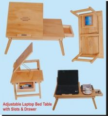 """Roger & Moris Laptop Bed Table With Slots & Drawer (24""""x15"""")"""