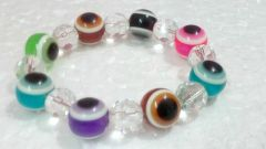 Multi Color Glass Bead Evil Eye Stretch Bracelet For Protection And Luck (9 Mm)