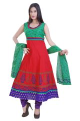 Divinee Red And Green Cotton Readymade Anarkali Suit - (Product Code - F_127_Red)