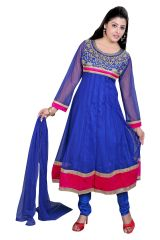 Divinee Blue Net Readymade Anarkali Suit - (Product Code - F_129_Blue)