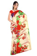 Styloce Multi Color Georgette Printed Casual Deasigner Saree With Blouse-(Code-STY-8703)