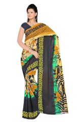 Styloce Multi Color Georgette Printed Casual Deasigner Saree With Blouse-(Code-STY-8709)