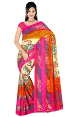 Styloce Multi Color Georgette Printed Casual Deasigner Saree With Blouse-(Code-STY-8735)