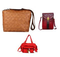 Estoss Set Of 3 Sling Bags Combo - Brown Sling, Maroon Sling & Red Sling- HCMB1019