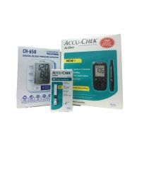 Dr. Morepen Accu-Chek Active Sugar Meter And 10 Strips With Citizen Ch-650 Wrist Digital Blood Pressure Monitor
