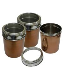 Set Of 3 Copper Color Kitchen Storage Canisters With See Through Lid