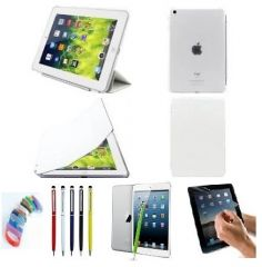 PU Leather  360 Degree Rotating Leather Case Cover Stand (White) for iPad Mini 2 Retina with Matte Screen Guard, Stylus and Wrist band