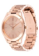 Michael Kors Ladies Glitz Slim Rose Gold Tone Runway Designer Watch Mk3197