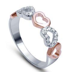 Sheetal Diamonds 0.14TCW Real Natural Diamond Heart Shape Ring In 14k White Gold R0015