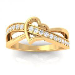 Sheetal Diamonds 0.35TCW Real Round Diamond Heart Shape 14k Gold Ring R0413