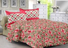 Welhouse Red & Floral Design Herbal Cotton Double Bedsheet With 2 CONTRAST Pillow Cover-Best TC-175