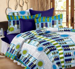 Welhouse Geometric Design Green Colour Cotton Double Bed Sheet With 2 Pillow Cover - TC-140