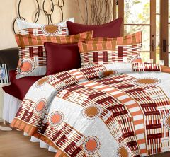 Welhouse Geometric Design Brown Colour Cotton Double Bed Sheet With 2 Pillow Cover - TC-140