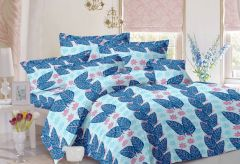 Welhouse Leafy Design Blue Colour Cotton Double Bed Sheet With 2 Pillow Cover - TC-140