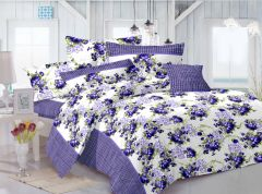 Welhouse Floral Design Blue Colour Cotton Double Bed Sheet With 2 Pillow Cover - TC-140