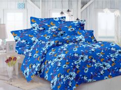 Welhouse Floral Design Blue Color Double Bedsheet With 2 Pillow Cover -TC-140