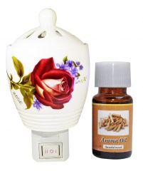 ZARSA Ceramic Aroma Diffuser With 10ml Sandalwood Aroma Oil - CAPDiffuser_Sandalwood1pc