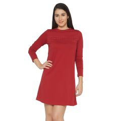Cult Fiction Maroon Color Round Neck Long Sleeves Cotton Dress For Womens