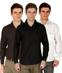 Masterly Weft Cotton Blend White, Black & White Casual Shirts (Pack Of 3) - (Product Code - D-SRT-C-4-1-11)