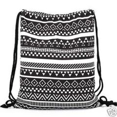 Aeoss Canvas Aztec Geometric Tribal Print Drawstring Gym College School Backpack Bag