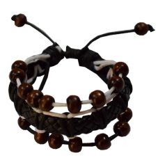 Men Style Genuine Design With Wooden Bead Black And Brown Leather Round Bracelet For Men And Boys  (Product Code -SBr011017)