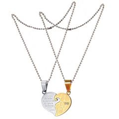 Men Style Love His And Hers Couples Gift Heart Pendant (Product Code -   Set For Lover Stainless Steel Heart  Product Code - SPn011092)