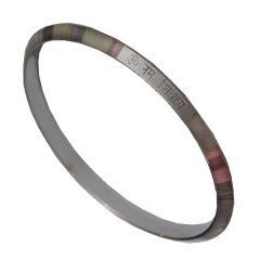 Men Style Om Namo Shivay 2/12 Inch SKa09001 Silver Stainless Steel Round Kada For Men And Women (Product Code -  SKa09001)