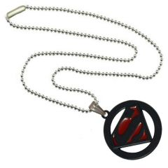 Men Style Superman Inspired SPn09079 Red And Black Alloy Circle Pendant For Men And Women (Product Code - SPn09079)