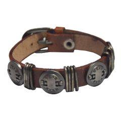Men Style New Wear Design  Brown  Faux Leather Flat Bracelet For Men And Women