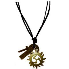 Men Style Handmade  Antique Silver With Leather Adjustable   Brown  Leather Circle  Pendent SPn011026