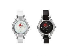 Arum Combo Of Two Black & White  Watches For LadiesArum Combo Of Two Black & White  Watches For Ladies