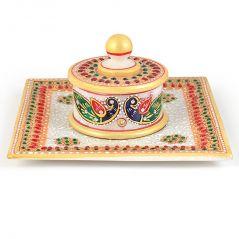 Gold Meenakari Work Marble Jewellary Box And Tray 391 By Pioneerpragati - (Product Code-PGT4HCF391)