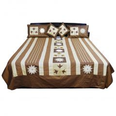 Pioneerpragati Traditional 5 Piece Brown Silk Double Bed Cover 304-(Product Code-Pgtslk304)