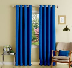 Lushomes Fire Blue Polyester Blackout Curtains With 8 Eyelets For Door