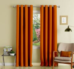 Lushomes Orange Polyester Blackout Curtains With 8 Eyelets For Long Door